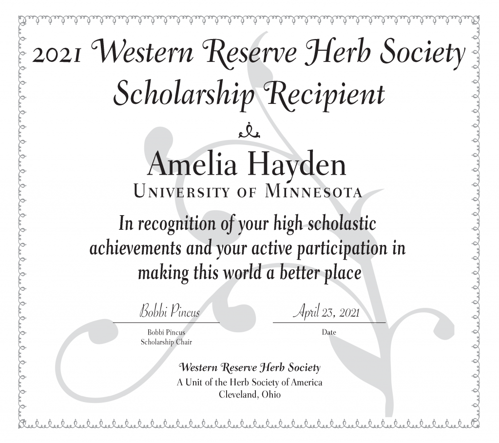 Certificate for Amelia Hayden, a University of Minnesota student who won a plant sciences scholarship