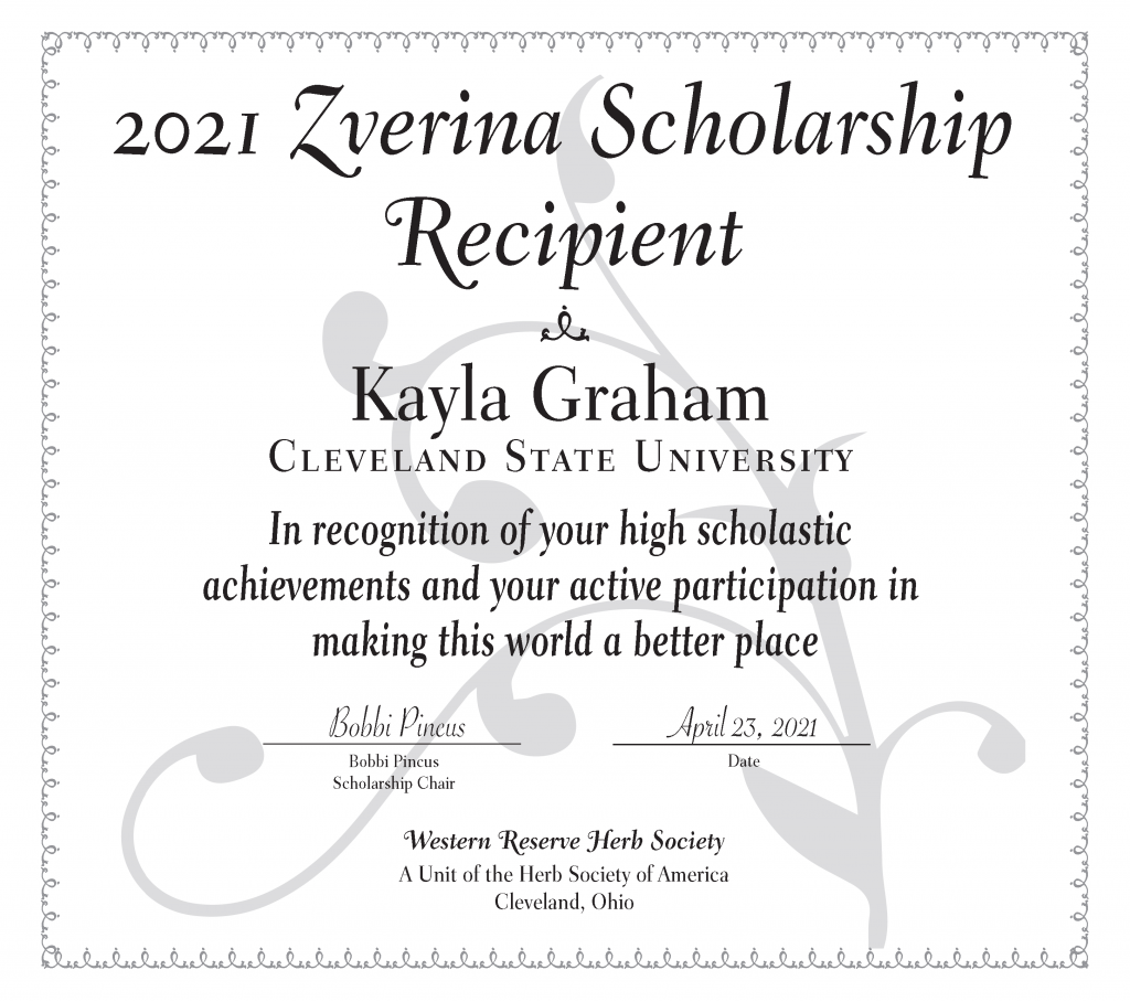 Certificate for Kayla Graham, a Cleveland State student who won a plant sciences scholarship
